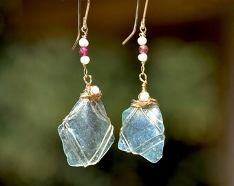 Roman Glass Jewelry from Israel Transparent Roman Glass Earrings+ Pearls+ Tourmaline Roman Glass Jewelry Gold Filled Long Earrings