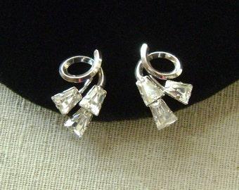 Vintage Sterling Silver Elegant Faceted Glass Crystal Earrings