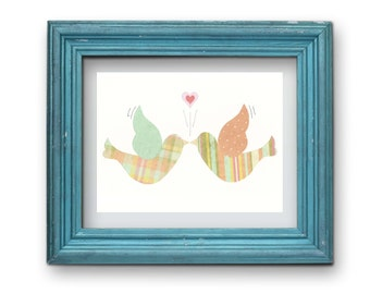 Colorful Lovebirds Print {Digital}