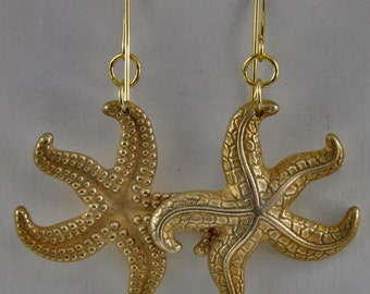 Handmade  Earrings  Vintage Haskell Style Russian Gold Plated Starfish On Gold Plated Rings And Hooks