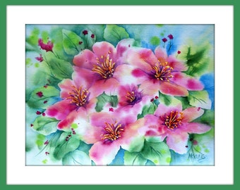 Watercolor Pink Flowers by Artist Martha Kisling
