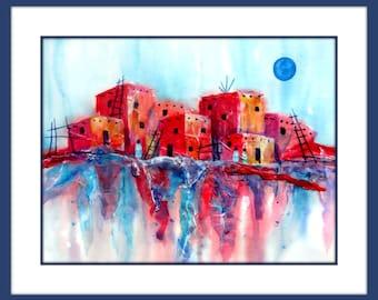 Watercolor Adobe, Pueblo Watercolor, Santa Fe Art, Taos, Art, Collage Southwestern, Adobe Art, Pueblo, Southwest Decor, Pink and Blue,