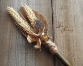 Ships in 5 days ~~~ Rustic Bullet Casing Boutonniere, Wheat, Cotton Pod, Bullet Shell Casing Unpolished, Twine, Burlap