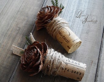 Ships in 5 days  ~~~ Rustic Wine Cork Boutonniere with Cedar Rose, Twine, Jute & Pine