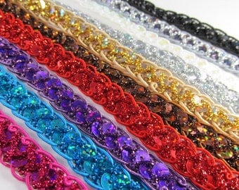 Holographic 1/2 Inch Scalloped Sequin Trim in Fuchsia, Turquoise, Purple, Red, Brown, Gold, Silver, White AB, Gunmetal, Black