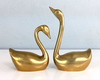 Brass Swans, Wedding Gift Mate for Life, Mid Century Brass Duck Goose Set, Home Decor, Hunting Cabin, Woodland Creature, Brass Figurine