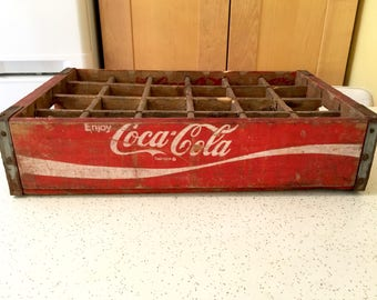 Vintage Red and White Coca Cola Crate, Coke Box, Wooden Advertising from 1970s, Drink Coke in Bottles, Coke Collector