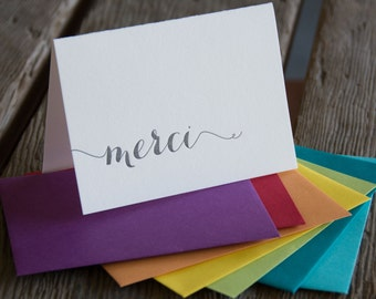 Merci letterpress cards, in black ink letterpress printed card. Eco friendly