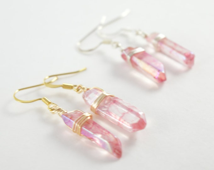 Red Crackle Quartz Crystal Point Earrings