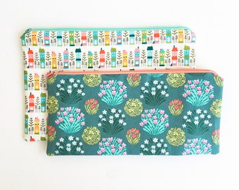 House Garden Zipper Pouch, Mothers Day from Daughter, Pencil Bag, Purse Pouch, Cosmetics Bag, School Supplies, Gift For Her, Organizer Bag