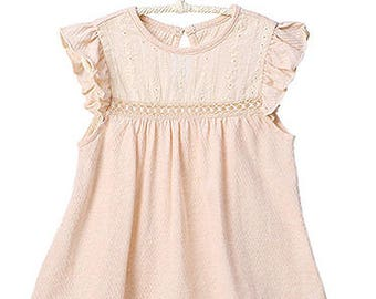 Organic Cotton Dress Kids Clothes Toddler Girl Baby Breathable Romantic Ballerina Frock Infant Cute Flutter Sleeves Woodland Newborn Dress