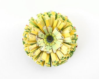 Vintage Paper, Handmade Flower as Magnet or Ornament - Yellow, Green, Home Decor, Unique, Cute, Text, Flower, Kitchen, Hostess, Fridge, Sun