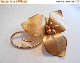 ON SALE Vintage brooch, BondBoyd  brooch, gold filled brooch, floral brooch, figural brooch, signed brooch
