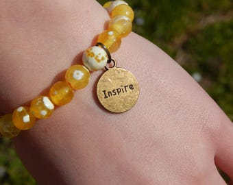 Yellow Fire Agate Elastic Bracelet with Double Sided Inspire/Believe Charm, OOAK, One of a Kind