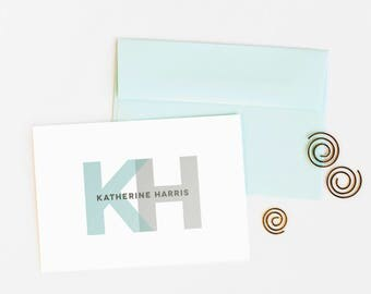 Personalized Stationery, Set of 12 Monogram Note Cards for Women // BOLD MONOGRAM