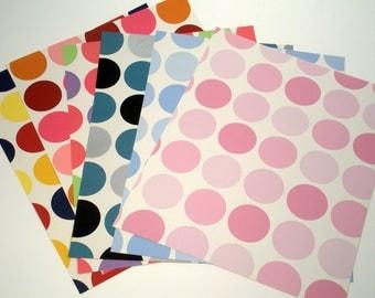 Wallpaper Sample Collage Pack (5 Sheets), Polka Dottie Pattern Paper, Collage Paper, Recycled Paper, Wallpaper Scraps, Card Making Paper