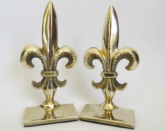 Brass Fleur de Lis Bookends, Vintage Andrea by Sadek