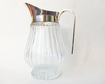 Pitcher Silver Plate & Ribbed Glass, Classic Vintage Italy