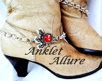 Red Rhinestone Boot Chains Flower Boot Jewelry BoHo Boot Bracelets A Few Petal Short Foot Jewelry