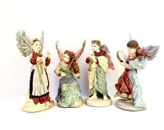 A Band Of Angels Resin Figurines Vintage 1993 Holiday Decorations Christmas Decor Set Of 4 Angels With Musical Instruments