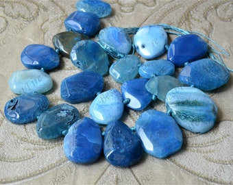Blue Faceted Agate nugget stone beads loose strands,Gemstone Beads,geode agate stone beads