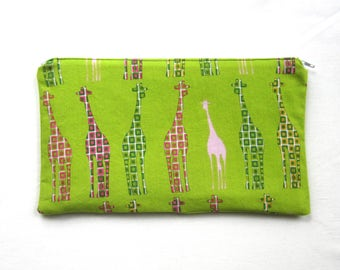 Mod Giraffes Fabric Zipper Pouch / Pencil Case / Make Up Bag / Gadget Sack