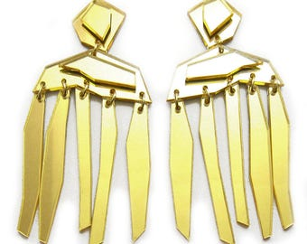 FACETED FRINGE Statement Earrings - Big Earrings, Gold Earrings, Dangle Earrings, Modern Earrings, Geometric, Architectural