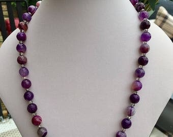 Purple Banded Agate Necklace