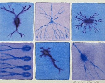 Lavender Neurons  - original watercolor of brain cells