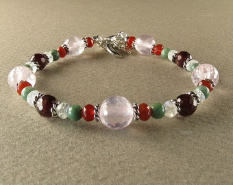 SALE! Fertility Bracelet with Rose Quartz, Garnet, Chrysoprase, Moonstone & Carnelian (2186)