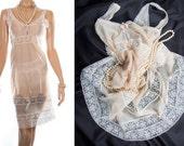 Delightful glossy silky soft sheer vanilla nylon and delicate cream lace bodice and hem detail 1980's vintage full slip petticoat - PL1585