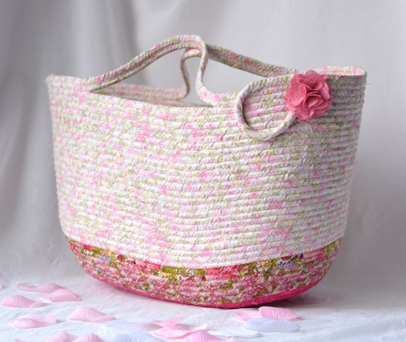 Shabby Chic Tote Bag, Handmade Pink Floral Basket, Decorative Storage Organizer, Beach Bag, Picnic Gift  Basket, Baby Shower Gift