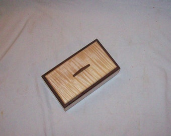 Small Wooden Box Fiddle Back Maple with Rose Wood Inlay Box makes a nice Treasure or Keepsake box