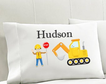 Personalized Kids Pillowcase CONSTRUCTION Pillowcase  Boys Pillowcase Boys Bedding