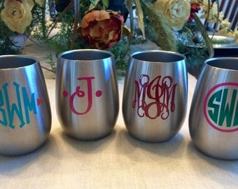 Yeti like stemless wine tumbler stainless steel FREE Monogram logo wedding gift bridesmaids groomsmen dads fathers 10oz great gift idea