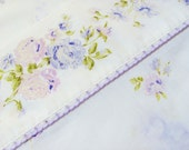 Flat Sheet Queen Size J C Penney's Fashion Manor Permanent Press Cotton Polyester Blend Purple And Pink Floral Edge With Purple Embroidery