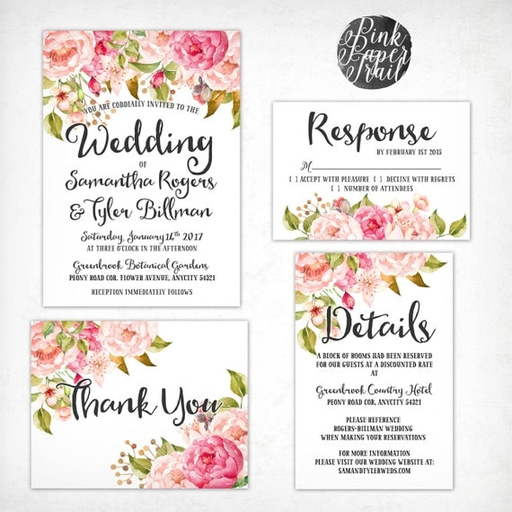 Wedding Invitations Kit: Wedding Invitation Kit Pink Floral Watercolor Set/Suite