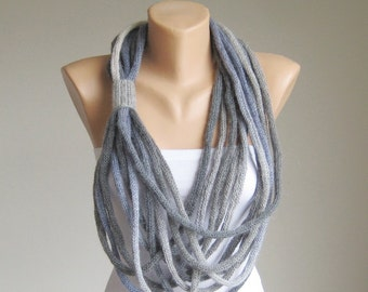 Thick Loop Scarf Necklace Circles, Knit Infinity Rope Scarf, Mohair Grey Loop Scarf, Long Boho Accessories, Winter Spring Women Loop Scarf