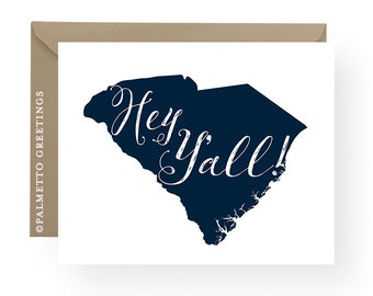 PRINTED - Set of 8 Folded South Carolina Hey Y'all State Silhouette Folded Notecards, SC State Love, Southern Sayings, Customize Colors