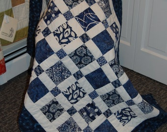 Blue Batik Lap Quilt, Baby Quilt, Baby Boy, Crib Quilt, Hand Quilted