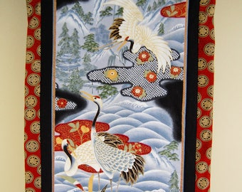 Cranes Wallhanging, Asian Decor