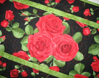 Valentine Table Runner, Roses, red. quilted, fabric from Timeless Treasures