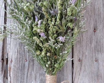 Dried Flower Bouquet Floral Arrangement Sea Holly Limonium Natural Meadow Grasses Flowers Free Lavender Sachet Shade of Blue Purple Green