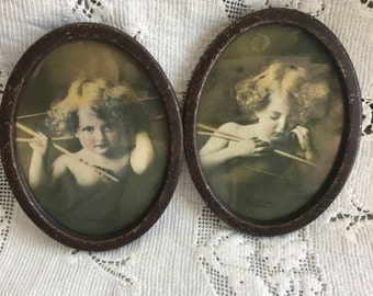 Antique Cupid Prints in Oval Frames Cupid Asleep and Awake Frame Art Sepia Tone Metal Frames Home Decor Collectible Old Print