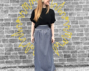 FREE SHIPPING!: Vintage 1970's Black & White Plaid Maxi Skirt With Stunning Silver Detail