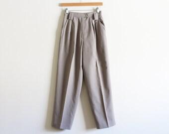 "Vintage High Waisted Light Grey Wool Pants / Lined Pants / 26"" Waist / Size 4"