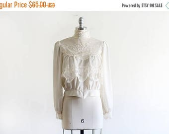 25% OFF Vintage Sheer Lace Victorian Style Blouse By Sue Wong / Sheer Blouse / Boho Romantic / 80's does Victorian