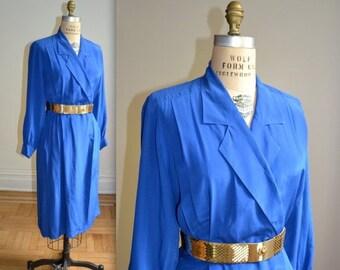15% OFF SALE Vintage Silk Wrap Dress in Bright Blue size Medium Large// Vintage Long Sleeve Silk Shirt Dress Size Medium Large