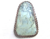 reserved - LARGE Turquoise and Sterling Silver Pendant - Natural Pale Green Turquoise VINTAGE 1970s Southwestern Jewelry