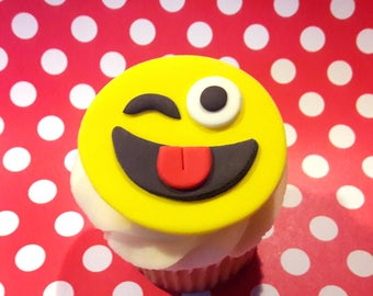 Fondant cupcake toppers Emoji fondant toppers